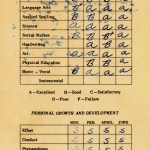 An old, stained American grade school report card from 1964.