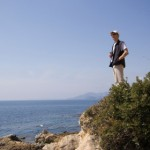 man looking overseas - french riviera, mediterranean sea - adobe RGB