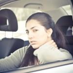 Displeased girl in her car, traffic